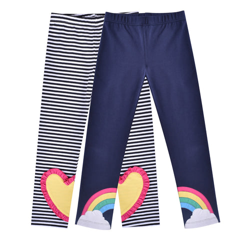 Girls Pants Leggings 2-pack Set Heart Rainbow Size 2-6 Years