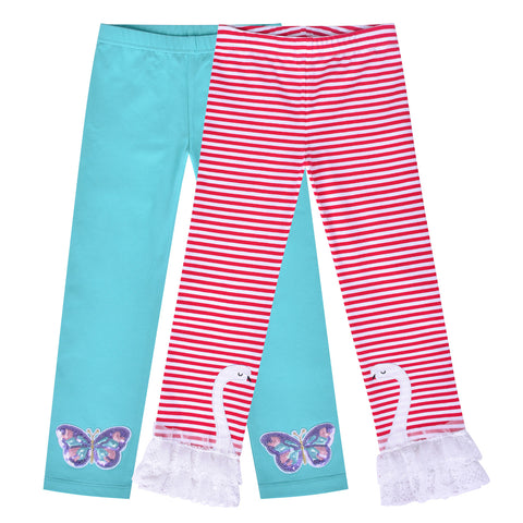 Girls Pants Leggings 2-pack Set Butterfly Swan Size 2-6 Years