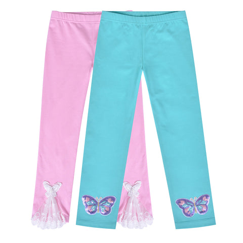 Girls Pants Leggings 2-pack Set Butterfly Lace Size 2-6 Years