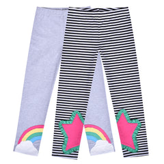 Girls Pants Leggings 2-pack Set Rainbow Star Striped Size 2-6 Years