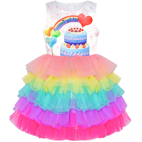 Girls Dress Birthday Princess Ruffle Dress Cake Love Heart Gift Size 3-10 Years