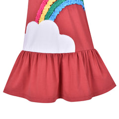 Girls Dress Rainbow Christmas Party Long Sleeve Cotton Size 3-7 Years