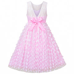 Flower Girls Dress Lace Butterfly Wedding First Communion Size 6-12 Years