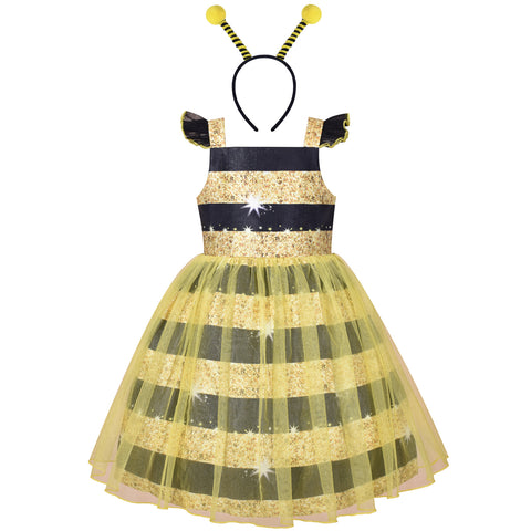Girls Dress Queen Bee Costume Halloween Cosplay Party Size 4-8 Years