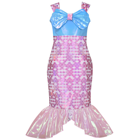 Girls Dress Mermaid Shell Princess Costume Halloween Party Dress Size 2-8 Years