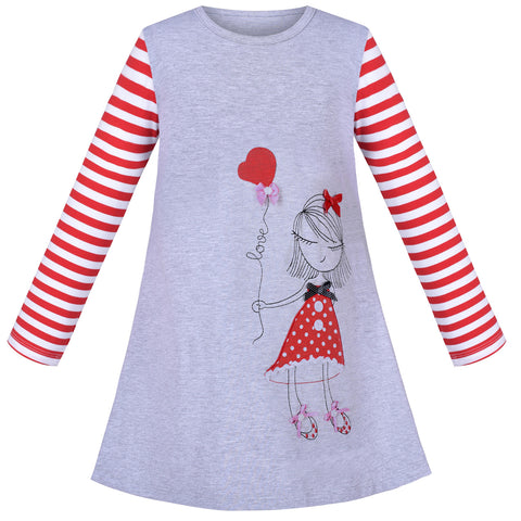 Girls Dress Cotton Casual Cartoon Love Heart Princess Long Sleeve Size 3-8 Years