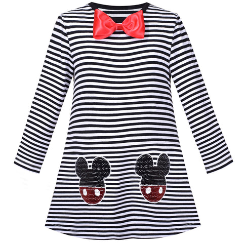 Girls Dress Cotton Casual Striped Black And White Costume Size 3-8 Years