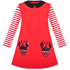 Girls Dress Cotton Casual Striped Style Cartoon Red Cosplay Costume Size 3-8 Years