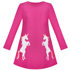 Girls Dress Fuchsia Rose Unicorn Sequin Embroidered Long Sleeve Size 3-8 Years