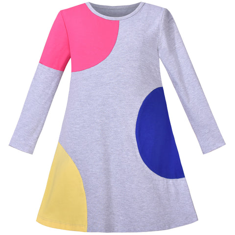 Girls Dress Long Sleeve A-line Shirt Dress Color Contrast Cotton Casual Size 3-8 Years