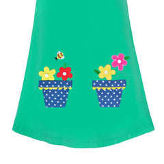 Girls Dress Cotton Casual Long Sleeve Flower Pot Embroidered Size 3-8 Years