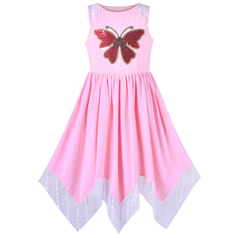 Girls Dress Hanky Hem Butterfly Sequins Embroidered Pink Cotton Size 6-12 Years
