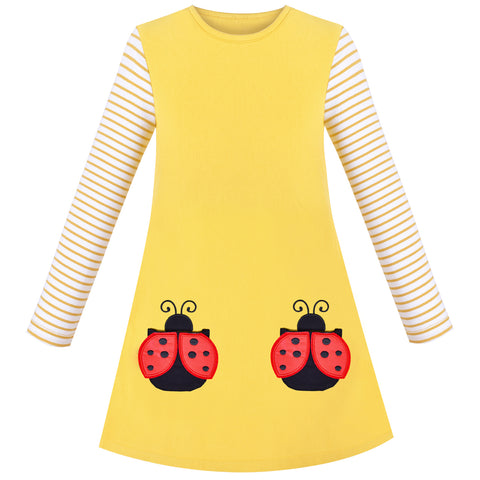 Girls Dress Cotton Casual Long Sleeve Lady Bug Embroidered Size 3-8 Years