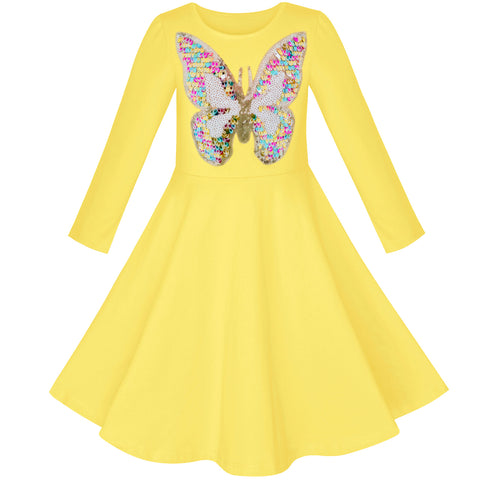 Girls Dress Yellow Butterfly Long Sleeve Casual Cotton Dress Size 5-12 Years