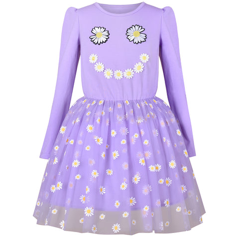Girls Dress Daisy Embroidered Long Sleeve Purple Party Dress Smile Size 4-8 Years