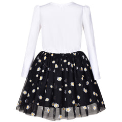 Girls Dress Daisy Embroidered Long Sleeve Black White Party Dress Smile Size 4-8 Years