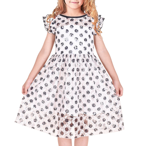 Girls Dress Lace Black Dot Pleated Sleeve Party Summer Sundress Size 4-8 Years