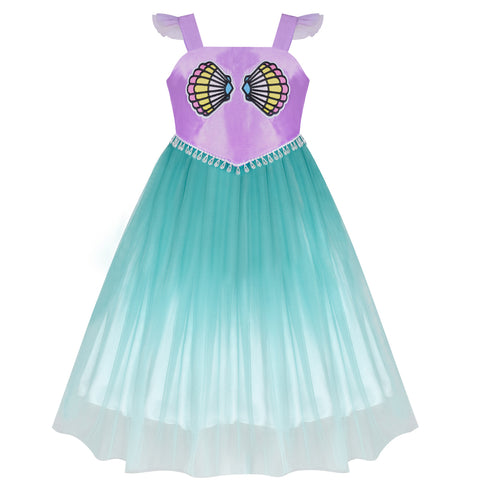 Girls Dress Mermaid Princess Gradient Color Tulle Costume Dress Size 4-8 Years
