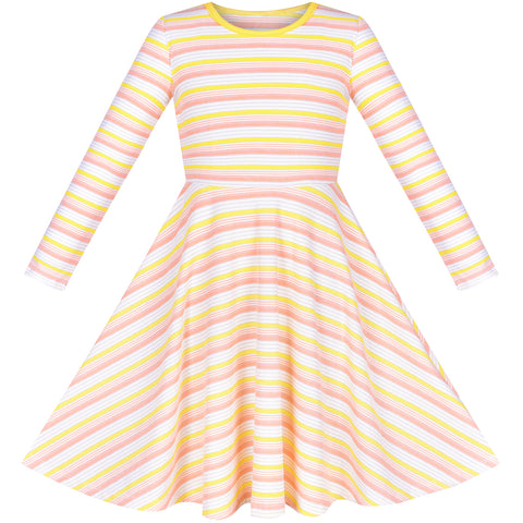 Girls Dress Long Sleeve Yellow Striped Cotton Casual Everyday Wearing Size 4-8 Years