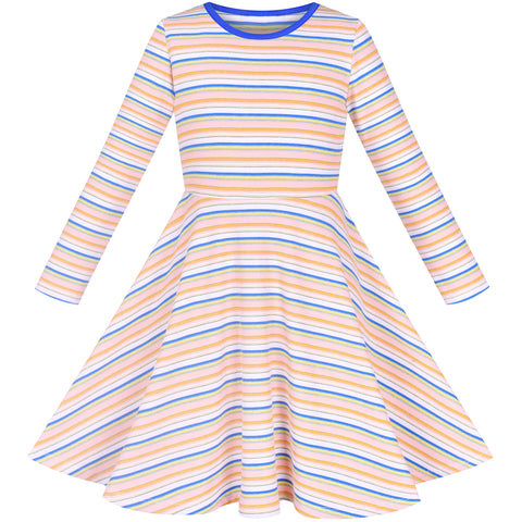 Girls Dress Long Sleeve Striped Cotton Casual Everyday Wearing Size 4-8 Years