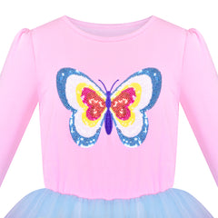Girls Dress Blue Butterfly Sparkling Sequins Gradient Color Tulle Size 4-8 Years