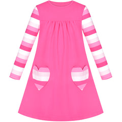 Girls Dress Pink Long Sleeve Heart Pocket Striped Casual Cotton Size 3-8 Years