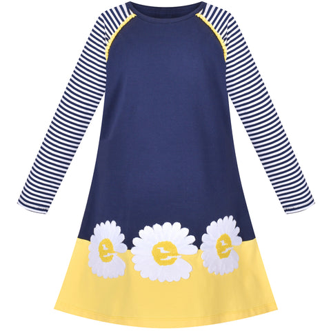 Girls Dress Long Sleeve Daisy Flower Striped Casual Cotton Size 3-8 Years