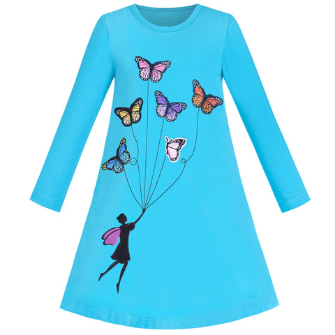 Girls Dress Long Sleeve Blue Butterfly Embroidered Casual Size 3-8 Years