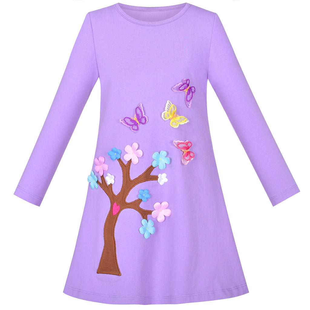 Girls Dress Long Sleeve Purple Butterfly Tree Embroidered Casual Size 3-8 Years