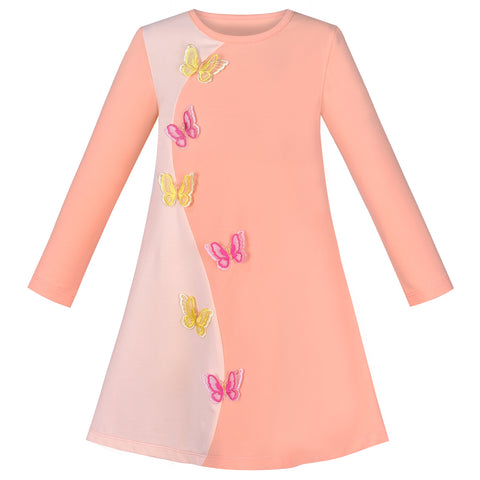 Girls Dress Long Sleeve Butterfly Color Contrast Casual Everyday Wearing Size 3-8 Years