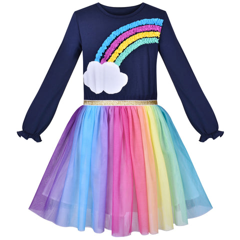 Girls Dress Rainbow Colorful Tulle Skirt Long Sleeve Holiday Party Size 4-8 Years