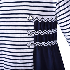 Girls Dress Long Sleeve Navy Blue Striped Cotton Casual Size 3-8 Years