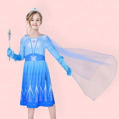 Girls Dress Snow Queen Ice Princess Birthday Crown Magic Wand Size 4-8 Years