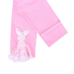 2 Packs Girls Pants Leggings Cotton Rainbow Pink Butterfly Lace Size 2-7 Years