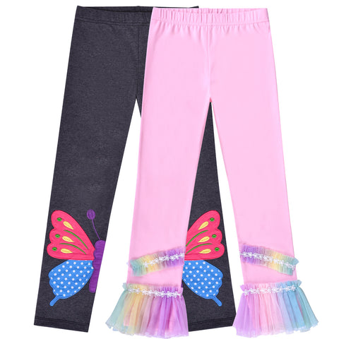2 Packs Girls Pants Leggings Cotton Rainbow Butterfly Tulle Size 2-6 Years
