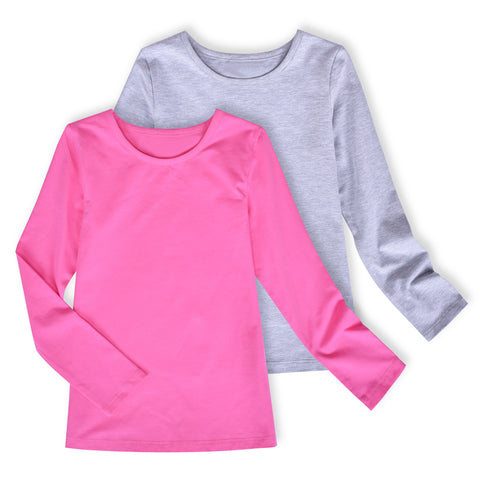 2 Packs Girls Top Tee Shirt Long Sleeve Gray Pink School Uniform Size 4-10 Years