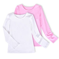 2 Packs Girls Top Tee Shirt Long Sleeve White Casual School Uniform Size 4-10 Years