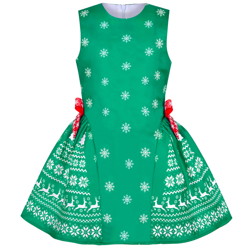 Girls Dress Green Reindeer Snowflakes Christmas Party Holiday Size 4-8 Years