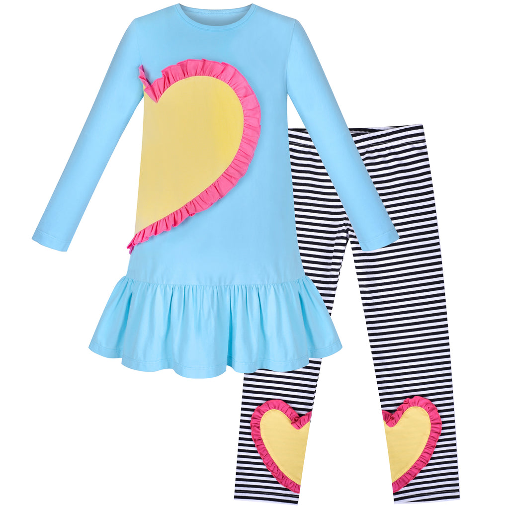 Girls Outfit Set 2 Piece Cotton Heart Casual Dress Leggings Top Pants Size 3-6 Years