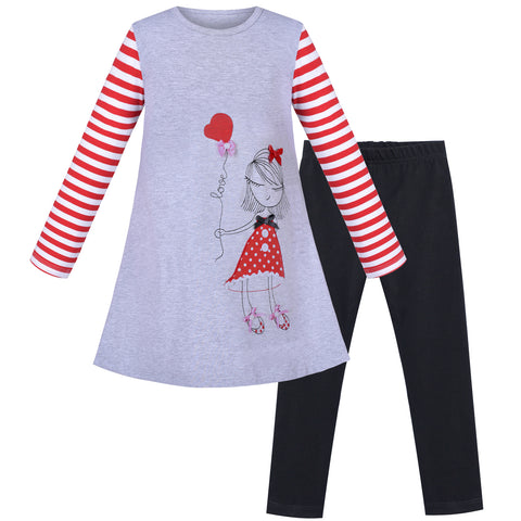 Girls Outfit Set Cotton Embroidered Princess Casual Dress Leggings Size 3-8 Years