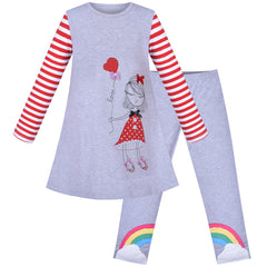 Girls Outfit Set Cotton Embroidered Princess Dress Rainbow Leggings Size 3-6 Years