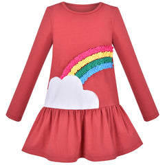 Girls Outfit Set 2 Piece Cotton Rainbow Dress Leggings Top Pants Size 3-6 Years