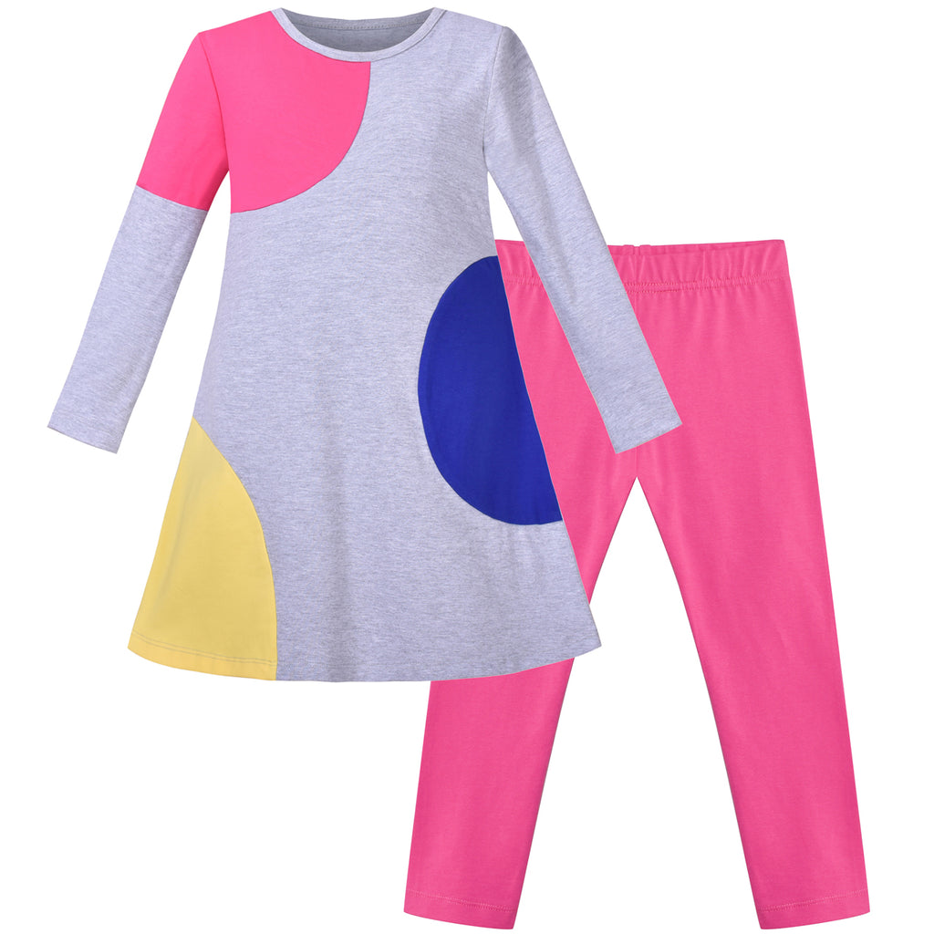 Girls Outfit Set 2 Piece Cotton Color Contrast Dress Leggings Pants Size 3-6 Years