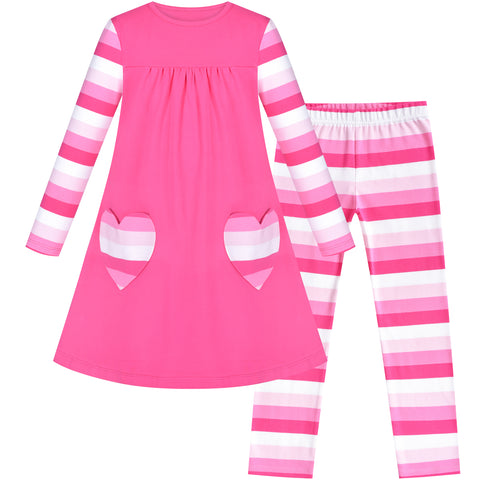 Girls Outfit 2 Piece Set Cotton Heart Shape Pocket Dress Leggings Size 3-8 Years
