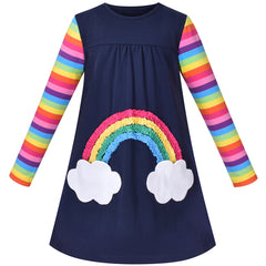 Girls Outfit Set Cotton Dress Leggings Rainbow Striped Cloud Pocket Size 3-7 Years