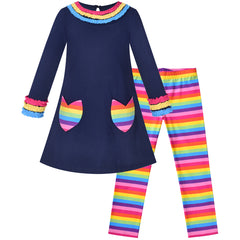 Girls Outfit Set Cotton Dress Leggings Rainbow Striped Flower Pocket Size 3-7 Years