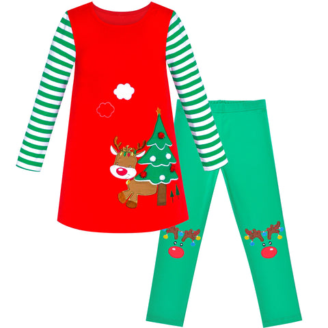 Girls Outfit Set Cotton Dress Leggings Reindeer Christmas Gift Size 2-6 Years