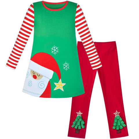 Girls Outfit Set 2 Piece Cotton Dress Leggings Santa Christmas Gift Size 2-6 Years