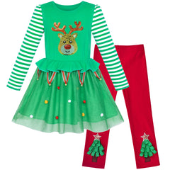 Girls Outfit Set Cotton Dress Leggings Jingle Bell Christmas Tree Gift Size 3-6 Years