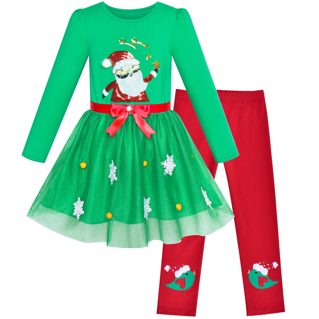 Girls Outfit Set Cotton Dress Leggings Santa Christmas Gift Size 3-6 Years